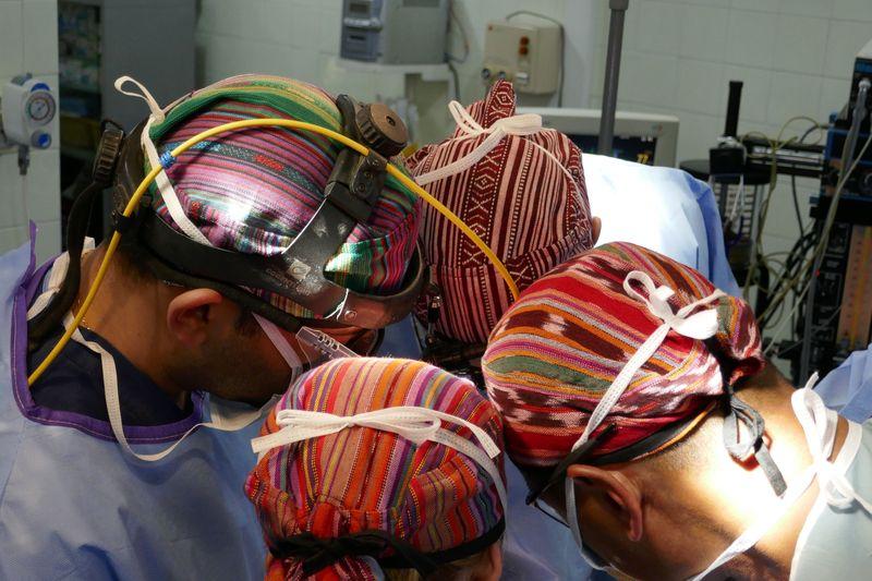 Hospital de la Familia Foundation operating room with Guatemalan caps
